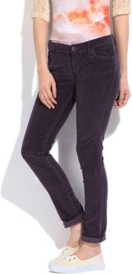 Flying Machine Skinny Fit Women's Purple Trousers at flipkart