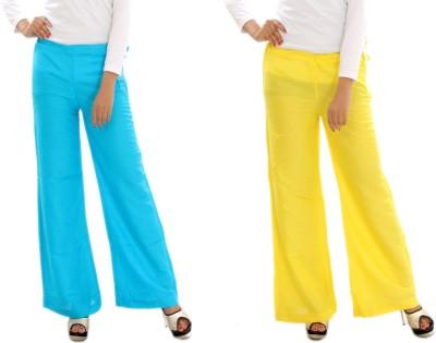 MountainColours Regular Fit Women's Light Blue, Yellow Trousers