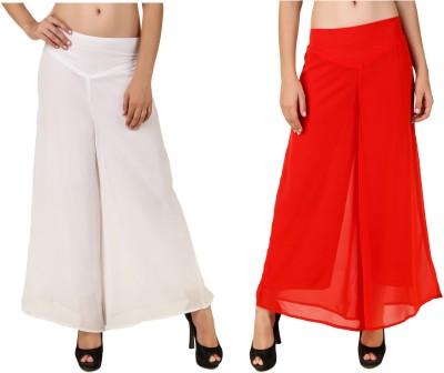 RoseBella Regular Fit Women's White, Red Trousers