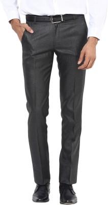 BUKKL Slim Fit Men's Black Trousers