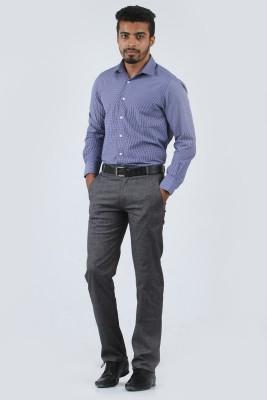 Cotton Berry Slim Fit Men's Black Trousers