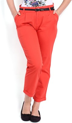 Tokyo Talkies Regular Fit Women's Maroon Trousers