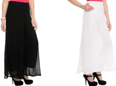 Kyron Regular Fit Women,s Black, White Trousers