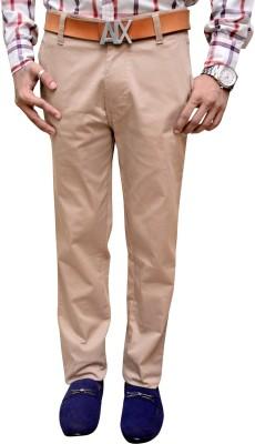 Attitude Works Regular Fit Men's Cream Trousers