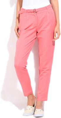 Elle Regular Fit Women's Pink Trousers