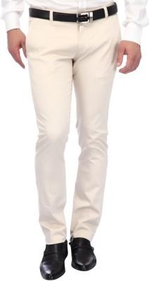 FRANK JEFFERSON Skinny Fit Men's Beige Trousers
