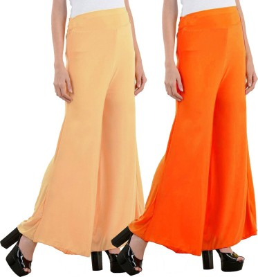 Aadhar Creations Regular Fit Women's Linen Orange, Beige Trousers