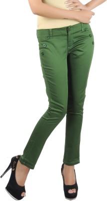 Klouden Skinny Fit Women's Green Trousers