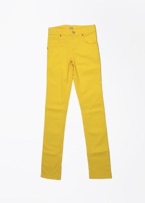 Gini & Jony Slim Fit Girls Yellow Trousers