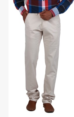 Cotton colors Slim Fit Men's Cream Trousers