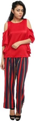 Tryfa Regular Fit Women's Red Trousers