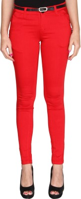 Bedazzle Slim Fit Women's Red Trousers