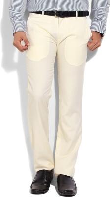 John Players Slim Fit Men's White Trousers