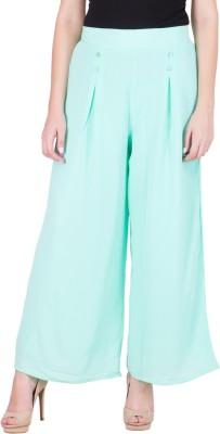Purple Feather Regular Fit Women's Green Trousers
