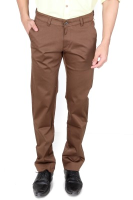 TRI-THE REAL INDIANS Slim Fit Men's Brown Trousers