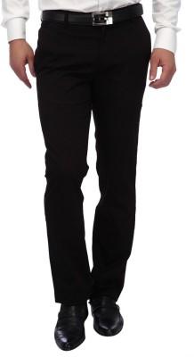 FRANK JEFFERSON Slim Fit Men's Black Trousers