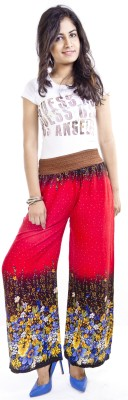 Cotton Flake Regular Fit Women's Red Trousers