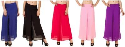 CHIKFAB Regular Fit Women's Blue, Black, Pink, Pink, Purple Trousers