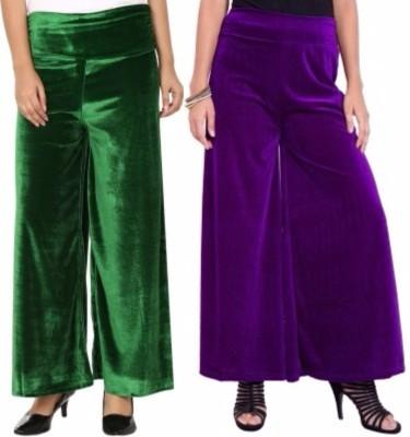Viba London Regular Fit Women's Green, Purple Trousers
