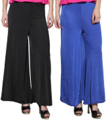 Both11 Regular Fit Women's Blue, Black Trousers
