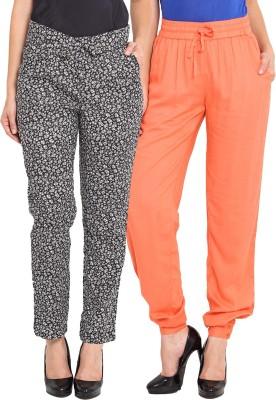 NVL Regular Fit Women's Orange, Black, White Trousers