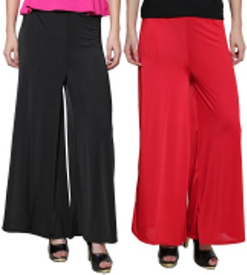 Both11 Regular Fit Women's Red, Black Trousers