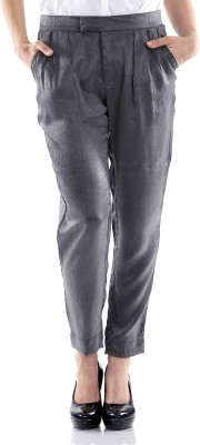 Fuziv Slim Fit Women's Grey Trousers