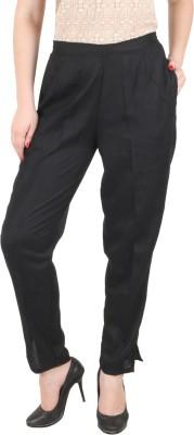 c/cotton comfort Slim Fit Women's Black Trousers