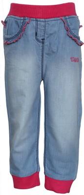 Tales & Stories Regular Fit Girl's Denim Light Blue Trousers