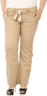 LASTINCH Regular Fit Women's Linen Beige Trousers at flipkart