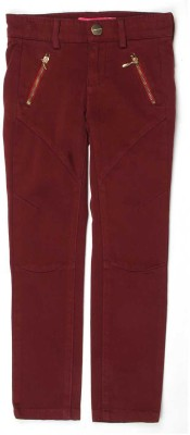 London Fog Regular Fit Girl's Maroon Trousers