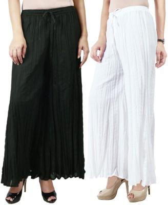 Haniya Regular Fit Women's Black, White Trousers