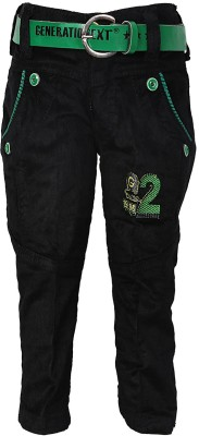 Generationext Regular Fit Baby Boy's Black, Green Trousers