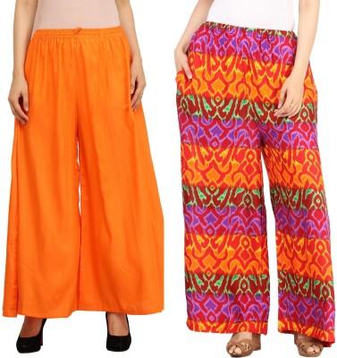 Guru Nanak Fashions Regular Fit Women's Orange, Multicolor Trousers