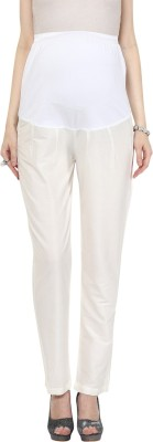 Mamacouture Regular Fit Women's White Trousers