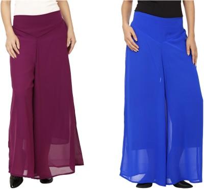 Lambency Regular Fit Women's Purple, Blue Trousers