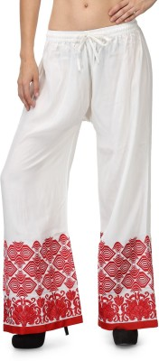 Akshiti Regular Fit Women's White, Red Trousers