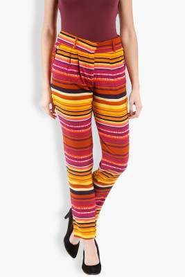 Folklore Slim Fit Women's Pink, Yellow Trousers