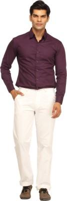 Cotton Berry Slim Fit Men's White Trousers