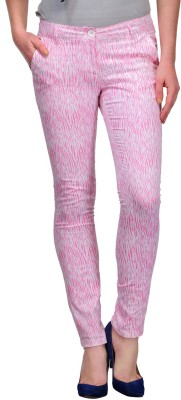Yepme Slim Fit Women's White, Pink Trousers at flipkart