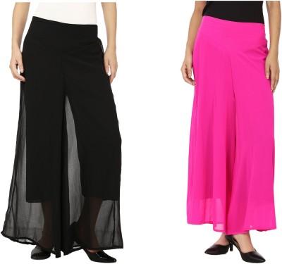 Lambency Regular Fit Women's Black, Pink Trousers