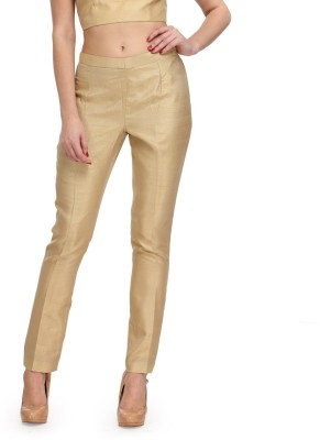 Just Wow Slim Fit Women's Gold Trousers