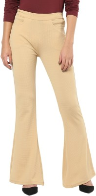Sassafras Slim Fit Women's Beige Trousers at flipkart