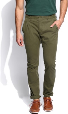 French Connection Regular Fit Men's Green Trousers