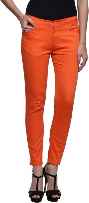 Prakum Skinny Fit Women's Orange Trousers