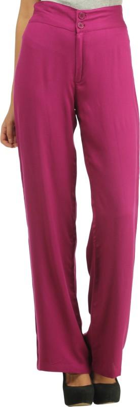 Cottinfab Slim Fit Women's Purple Trousers