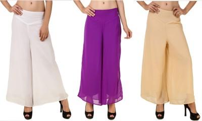 RoseBella Regular Fit Women's White, Purple, Beige Trousers