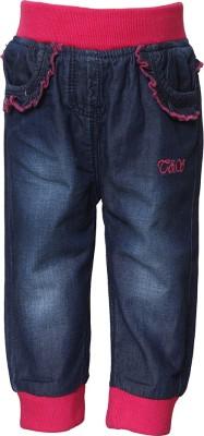 Tales & Stories Regular Fit Girl's Denim Dark Blue Trousers