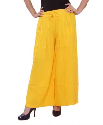 A&K Regular Fit Women's Yellow Trousers