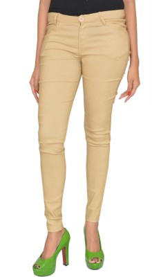 Fashion Club Slim Fit Women,s Beige Trousers
